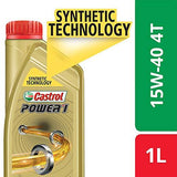 Castrol POWER1 4T 15W-40 Synthetic Engine Oil for Bikes (1L)-Automotive Parts and Accessories-Castrol-Helmetdon