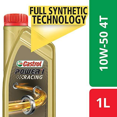 Castrol Power1 Racing 4T 10W-50 Petrol Engine Oil for Bikes (1 L)-Automotive Parts and Accessories-Castrol-Helmetdon