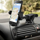 CEUTA™ Car Mobile Holder Mobile Stand for Car Windshield/Dashboard Mount Cradle for iPhone/Samsung/Sony/Xiaomi/Motorola/GPS (Black Silver)-CE-CEUTA-Helmetdon