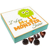Chocholik Rakhi Gift Box - I Love My Monster Sister - 9pc-Grocery-Chocholik-Helmetdon