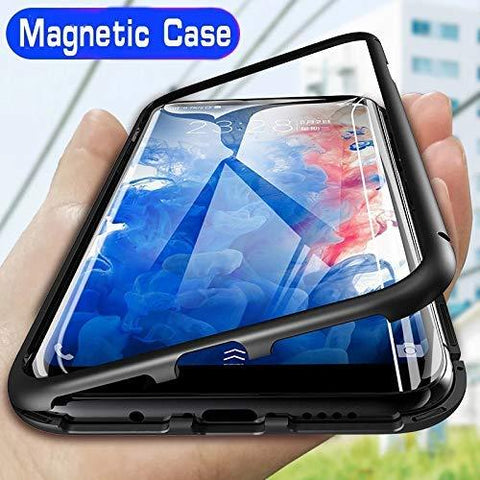 Designerz Hub® Magnetic Metal Frame Tempered Glass Hard Back Cover with Built-in Magnets Bumper Desinged for Xiaomi Mi A3-CE-DESIGNERZ HUB-Helmetdon