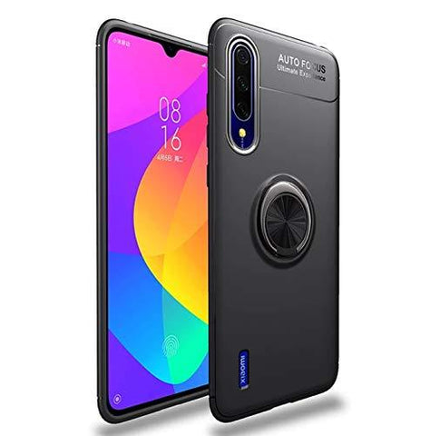 Designerz Hub® Sleek Rubberized Case with Chrome Plating Ring Stand Back Cover Case Designed for Xiaomi Mi A3 - (Black)-CE-DESIGNERZ HUB-Helmetdon