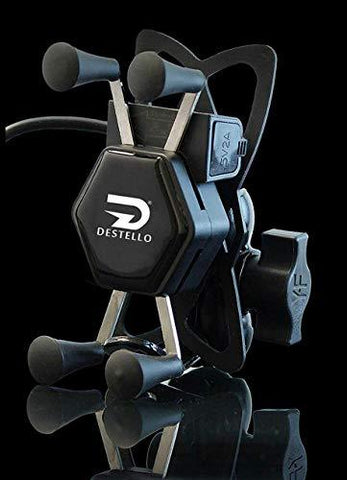 Destello X-Grip Bike USB Mobile Holder with Charger Port for ATV, Bicycle and Bike.Suitable for All Smartphone,GPS,Adjustable Clamp-Automotive Parts and Accessories-DESTELLO-Helmetdon