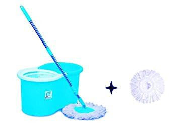 Esquire Spin Mop with 360° Spin, Telescopic Rod and Free Refill (Blue, White)-Home & Kitchen-Esquire-Helmetdon