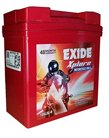 Exide Batterys in Red Colour 12xl5.lb-Automotive Parts and Accessories-Exide-Helmetdon