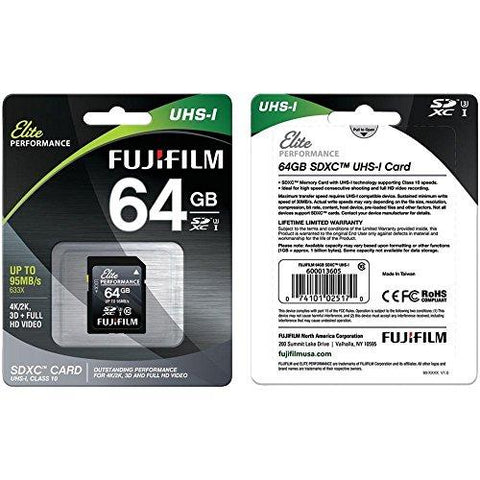 Fujifilm Elite Performance - Flash Memory Card - 64 GB - SDXC UHS-I, Black (600013605)-Personal Computer-Fuji-Helmetdon