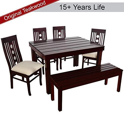 Furny Franco Dining Table Set In Teak Wood 6 Seater With Bench With Mo Helmet Don