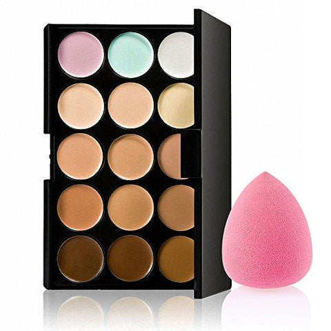 Generic 15 Colors Contour Concealer Palette with 1 Flawless Makeup Foundation Puff-Beauty-Generic-Helmetdon