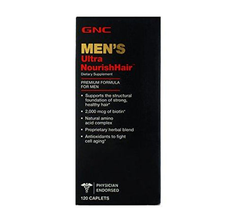 GNC Men's Ultra Nourish Hair with 2000 MCG of biotin - 120 Caplets-Health and Beauty-GNC-Helmetdon