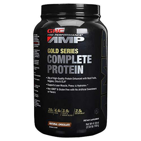 GNC Pro Performance Amp Gold Series Complete Protein 2.58 lbs, 1169 g (Natural Chocolate)-Health and Beauty-GNC-Helmetdon