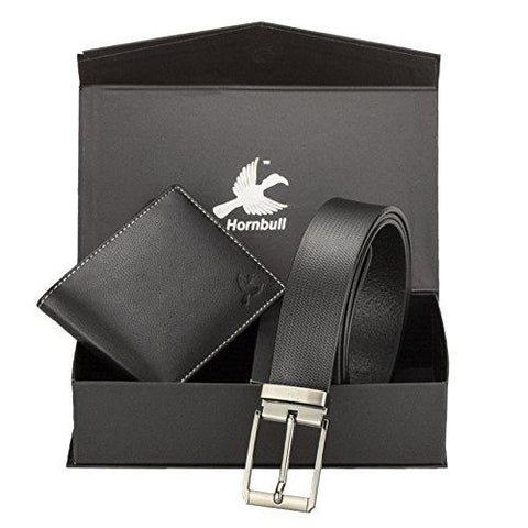 Hornbull Men's Black Wallet and Belt Combo-Luggage-HORNBULL-Helmetdon