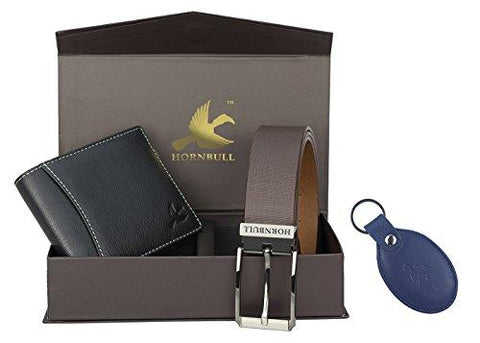 Hornbull Men's Black Wallet, Navy Key Ring and Brown Belt Combo BW3096-Luggage-HORNBULL-Helmetdon