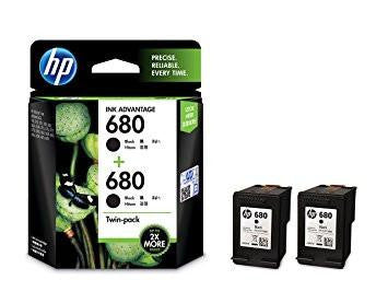 HP 680 Black Ink Cartridges Twin Pack (X4E79AA)-Computers and Accessories-HP-Helmetdon