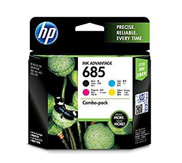 HP 685 Black Cyan Magenta Yellow Original Ink Advantage Cartridges, Pack of 4-Computers and Accessories-HP-Helmetdon