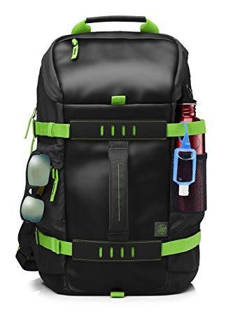 HP Odyssey T5P98AA Backpack for 15.6-inch Laptops (Black/Electric Green)-Computers and Accessories-HP-Helmetdon