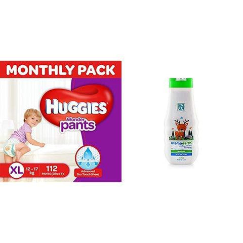 Huggies Wonder Pants Extra Large Size Diapers Monthly Pack (112 Count) & Mamaearth dusting Powder with Organic Oatmeal & Arrowroot Powder 150g-Baby Product-Huggies-Helmetdon