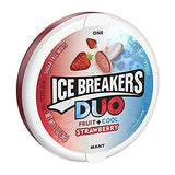 Ice Breakers Duo Strawberry,Cool 36 Grams + Ice Breakers Watermelon, Green Apple, Tangerine 42 Grams- Pack of 2 - Shipping Free-Grocery-jai jinendra-Helmetdon