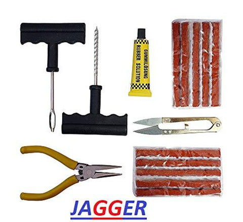 Jagger Complete Tubeless Tyre Puncture Repair Kit (Nose Pliers + Cutter + Rubber Cement + Extra Strips)-Automotive Parts and Accessories-Jagger-Helmetdon