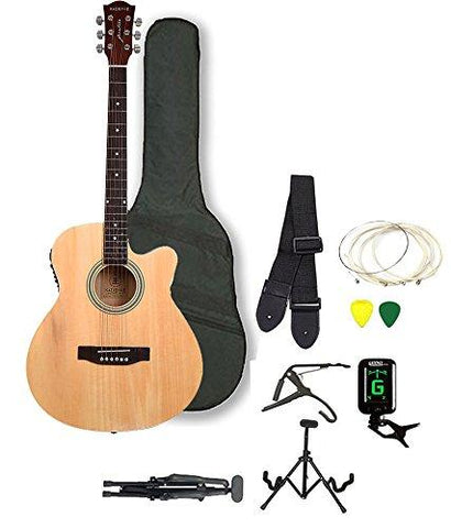 Kadence Frontier Series Acoustic Guitar With Equalizer And Pickup ,Natural Super Combo Foldable Guitar Stand,Tuner,Capo,Bag,Strap,Strings And 3 Picks-CE-Kadence-Helmetdon