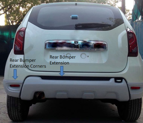 kardzine rear bumper extension for renault duster silver painted