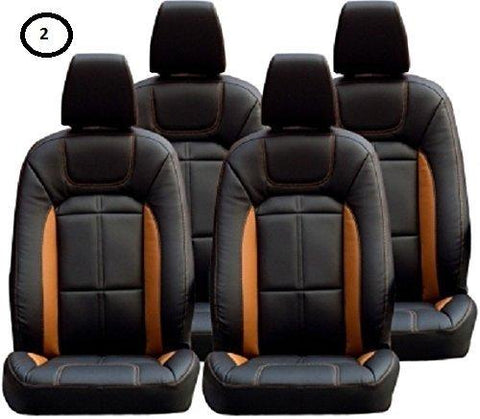Khushal Leatherite Car Seat Cover For Renault Kwid Ks057Rkwid Black/Orange With Free Steering Cover-KHUSHAL-Helmetdon