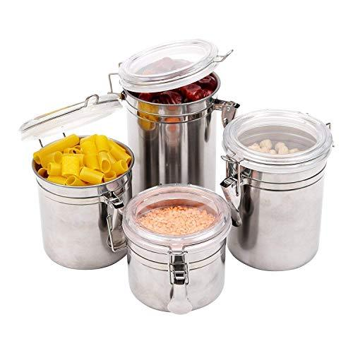 Kurtzy Stainless Steel Canisters Space Saving Kitchen Storage