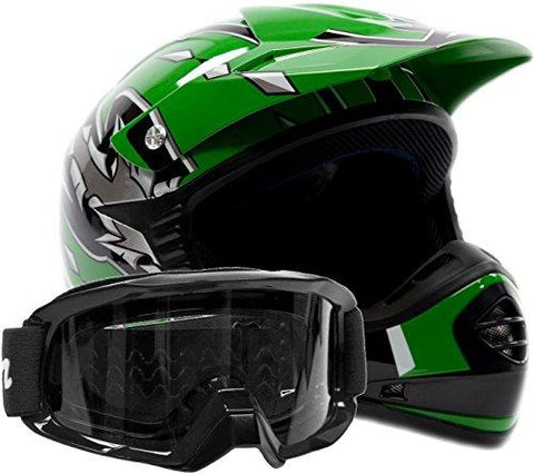 Large : Youth Offroad Gear Combo Helmet & Goggles DOT Motocross ATV Dirt Bike MX Motorcycle Green Black, L Large-Automotive Parts and Accessories-Typhoon Helmets-Helmetdon