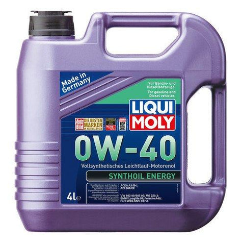 Liqui Moly Synthoil 0W-40 ACEA A1,ACEA A5,ACEA B1,ACEA B5 Fully Synthetic Petrol/Diesel Engine Oil (4 L)-Automotive Parts and Accessories-Liqui Moly-Helmetdon