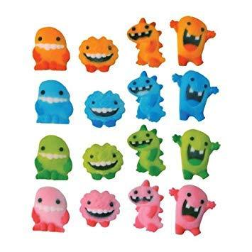Lucks Dec-Ons Decorations Molded Sugar/Cup-Cake Topper, Monster Assortment, 1 1/4-1 1/2 Inch, 128 Count-Home-Lucks-Helmetdon