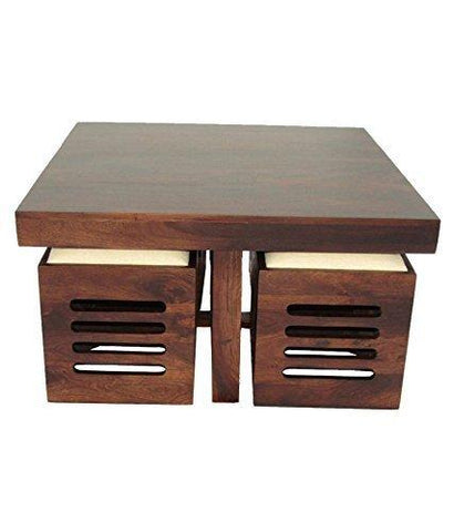 Mamta Decoration Wooden Coffee Table With 4 Stools For Living Room M Helmet Don