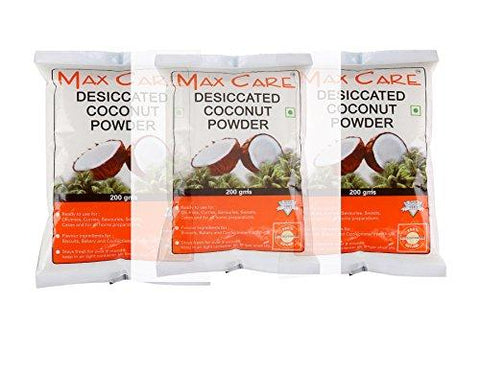 Max Care Desiccated Coconut Powder 600 gm (Pack of 3-200gm Each)-Grocery-Max Care-Helmetdon