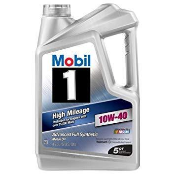 Mobil 1 10W-40 High Mileage Full Synthetic Motor Oil, 5 Qt-CE-Mobil 1-Helmetdon