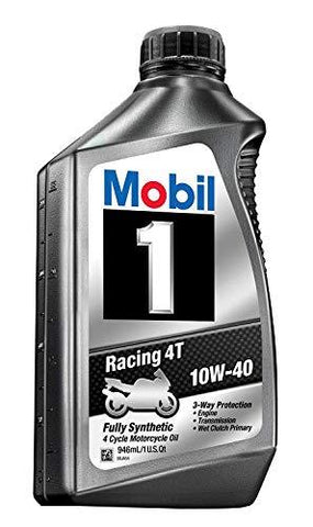 Mobil 1 Mobil 1 98Ja11 10W-40 Racing 4T Motorcycle Oil for Sport Bikes - 1 Quart Pack of 6-CE-Mobil 1-Helmetdon