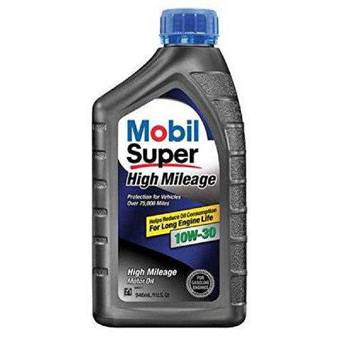 Mobil Super (112901-6PK High Mileage 10W-30 Motor Oil - 1 Quart, (Pack of 6)-Automotive Parts and Accessories-Mobil Super-Helmetdon