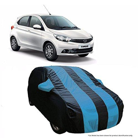 MotRoX Dual Tone Stripe Car Body Cover For Tata Tiago (Navy Blue with Royal Blue Stripe)-MotRoX-Helmetdon