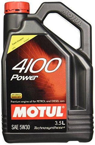 Motul 4100 Power SAE 5W30 Semi Synthetic Engine Oil for Petrol,Diesel,CNG & LPG Cars (3.5 L)-Automotive Parts and Accessories-Motul-Helmetdon