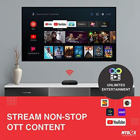 Mybox Android TV Box 8 0 with Amlogic S805, 8GB Memory, 1080p Full HD    Google Assistant Voice Remote   Streaming Media Player   2 USB Ports  