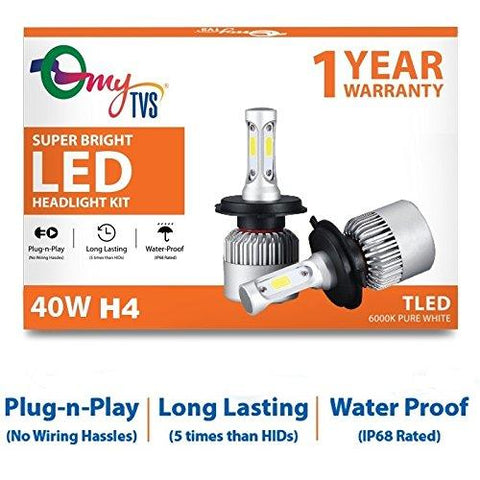 myTVS H4 Car LED Bulb 40W 6000K Super Bright Headlight Kit-CE-myTVS-Helmetdon