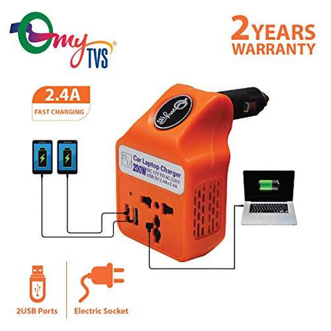 myTVS TLC-28 Car Laptop and Mobile Charger Power Inverter AC to DC Converter-Orange-CE-myTVS-Helmetdon
