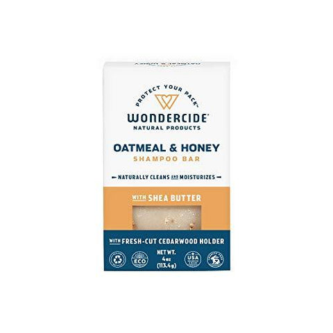 Natural Oatmeal & Honey Shampoo for Dogs & Cats with Rich Lather | Soothing Cleanser for Dry, Sensitive Skin | Paraben, Sulfate & Phthalate-Free | 4.3oz Eco-Friendly Bar with No Plastic Waste-Pet Products-Wondercide-Helmetdon