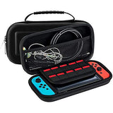 Newbuy switch case Protective Case Box Storage Bag Holder for Nintendo Switch Game (Black) (Hard PU+EVA)-Video Games-NEWBUY-Helmetdon