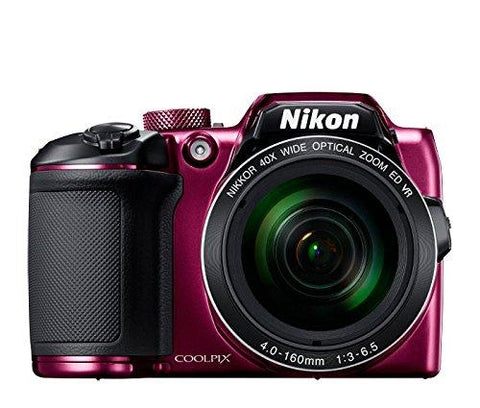 Nikon Coolpix B500 16MP Point and Shoot Camera with 40x Optical Zoom (Purple) + HDMI Cable + 16 GB SD Card + Carry Case-CE-Nikon-Helmetdon