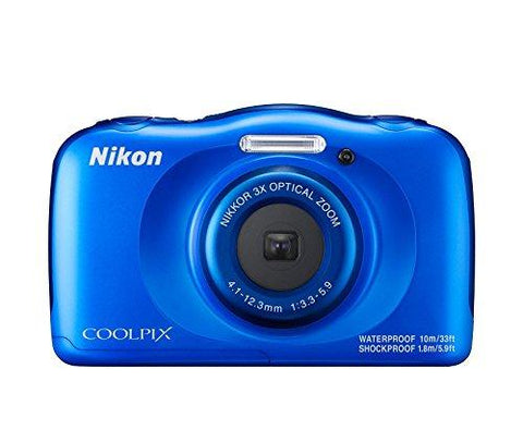 Nikon Coolpix W100 13.2 MP Point and Shoot Digital Camera (Blue) with 3X Optical Zoom, Card and Camera Case-CE-Nikon-Helmetdon