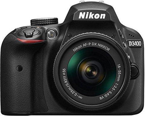 Nikon D3400 24.2 MP Digital SLR Camera (Black) + AF-P DX Nikkor 18-55mm f/3.5-5.6G VR Lens Kit + 16GB Card + Camera Bag-CE-Nikon-Helmetdon
