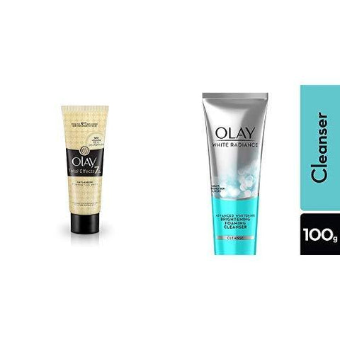 Olay Total Effects Anti Ageing Face Wash Cleanser, 100 g and Olay White Radiance Advanced Whitening Fairness Foaming Face Wash Cleanser, 100g-Beauty-Olay-Helmetdon