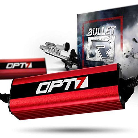 Opt7 2Pc Bullet-R H4 Hi-Lo Motorcycle Hid Kit - 4X Brighter - All Bulb Sizes and Colors - 2 Yr Warranty [Monster Green] : H4 Hi-Lo (2 Pc), Monster Gr-CE-OPT7-Helmetdon
