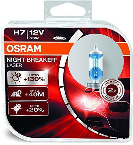 Osram H7 Laser Night Breaker Duo Box 64210NBL-HCB Light (55W, 12V, 2 Bulbs)-Bulbs-Osram-Helmetdon