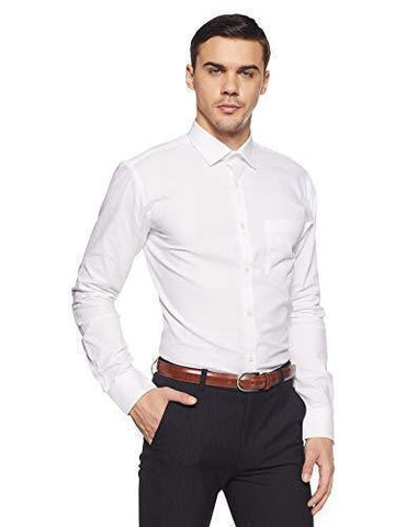 Park Avenue Men's Plain Slim Fit Formal Shirt-Apparel-Park Avenue-Helmetdon