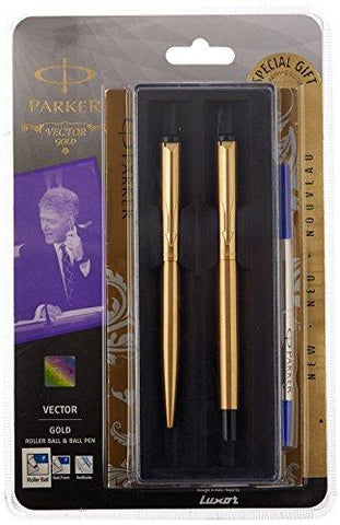 Parker Ve Chrome Trimor Gold Roller Ball Pen + Ball Pen with Free Gift Wrap Sleeve-Office Product-Parker-Helmetdon
