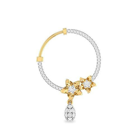 PC Jeweller The Quizmu 18KT Yellow Gold and Diamond Nose Pin for Women-Jewelry-PC Jeweller-Helmetdon